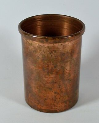 """Vintage Copper Cup / Container Holder with Age Patina, 3-3/4"""" x 2-1/2"""""""