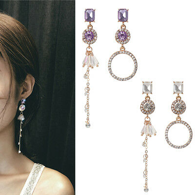 Long Asymmetrical  Women Dangle Earrings Drops Earrings Rhinestone Ear Stud