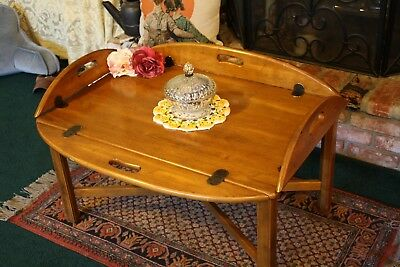 Ethan Allen French Country Coffee Table- Birch Wood, Brass