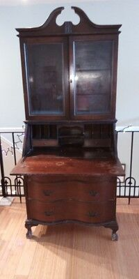 """1938 antique secretary desk/ hutch mahogany great By,""""MK Mothers final touch"""""""