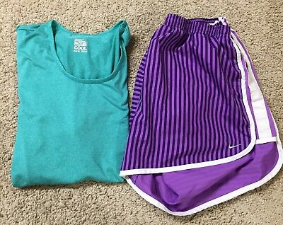 Womens Athletic Lot Of 2 Size XL- 32 Cool Tee, Nike Shorts