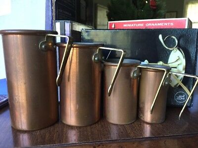 Set Of 4 Nestling Copper Measuring Cups With Brass Handles Korea