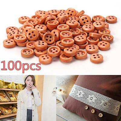 100x Round 4-Holes Wooden Buttons 10mm For Sewing Scrapbooking Craft DIY Decor
