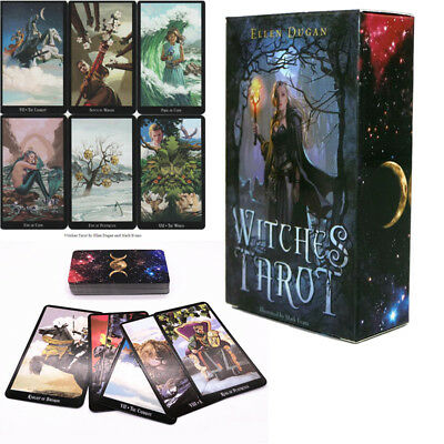 English Edition Witch Tarot Deck Future Fate Indicator Forecasting 78 Cards Set