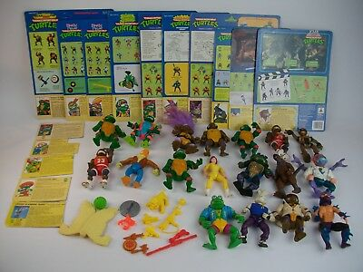 Vtg Tmnt Lot 18 Figures Accessories File Bio Card Backs Splinter Don Softhead