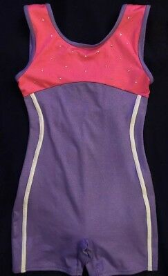 Girls Freestyle Purple And Pink Biketard Size Medium 7/8 EUC