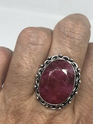 Vintage Silver Antique Deep Red Raw Ruby Ring