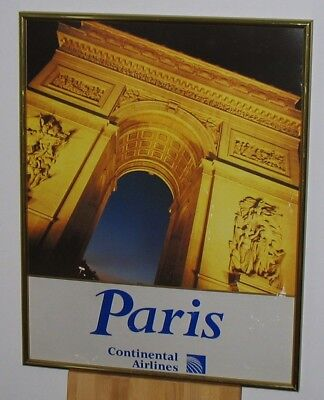"""Continental Airlines Paris Poster Framed  28"""" x 22"""""""