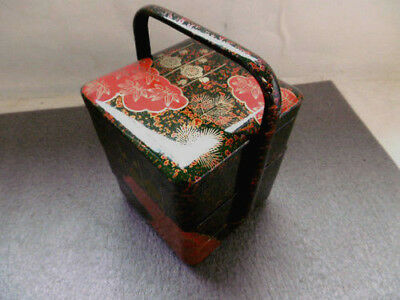 Antique Japanese Jubako with Makie/Decoration on black Lacquer/miniature【809055】
