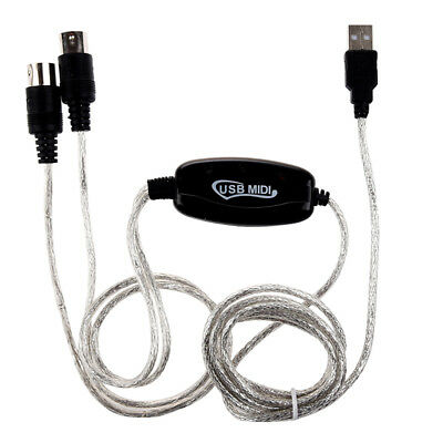 MIDI USB IN-OUT Interface Cable Cord Converter PC to Music Keyboard Adapter O8O6