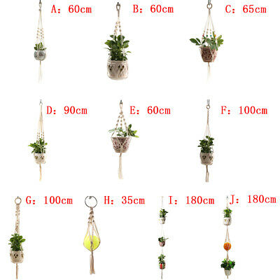 1Pot Holder Macrame Plant Hanger Hanging Planter Basket Jute Braided Rope BIJS