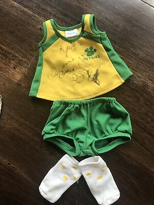 Build A Bear BAB Netball Uniform Green & Yellow Signed By Australian Netballers