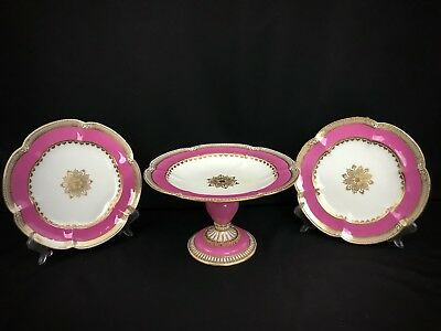 ANTIQUE COALPORT COMPORT COMPOTE DESSERT TAZZA SET PINK SCARCE c1855-1860