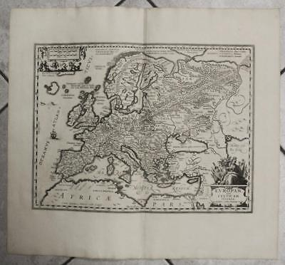 European Continent 1684 Georg Horn Unusual Antique Copper Engraved Map