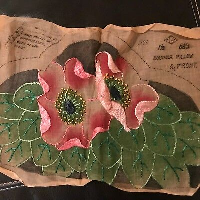 Vintage Antique Rayon or Silk Embroidery Boudoir Pillow to complete Pink Blossom