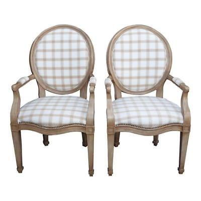 Pair Vintage Henredon French Provincial White & Gray Plaid Accent Chairs