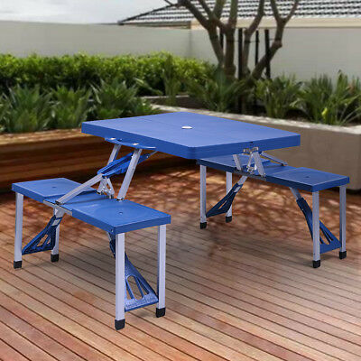 4185a7a639f Blue Outdoor Kids Folding Portable Plastic Picnic Table Camping W  4 Seats
