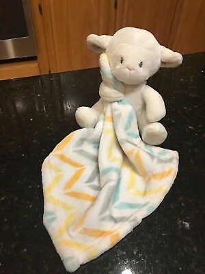 Little Miracles White Lamb Sheep Holding Chevron Striped Security Blanket Lovey