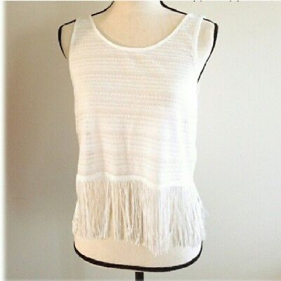 d9c9686a953 H&M DIVIDED WOMEN'S White Crop Top with Fringe Size Medium - $7.99 ...