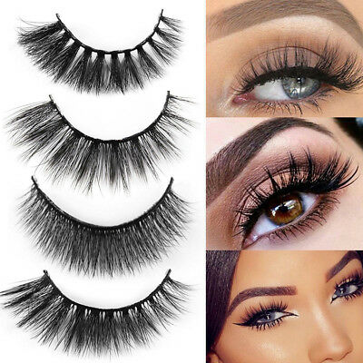 3 Pairs 3D Handmade Soft Long Natural Thick Makeup Eye Lashes False Eyelashes