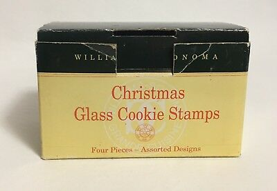 Vtg Williams Sonoma Christmas Cookie Stamps Glass  Star, Snowflake, Holly, Bells