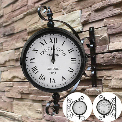 Outdoor Garden Wall Clock Mounted Radio Rooster Thermometer Dual Side Bracket UK