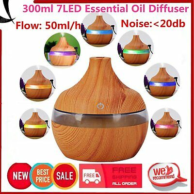 7LED Wood Grain 300ML Aromatherapy Essential Oil Diffuser Mist Humidifier Cool R