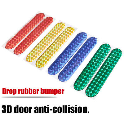 2Pcs Car Auto Door Bumper Reflective Stickers Safety Warning Strips Tape Decals