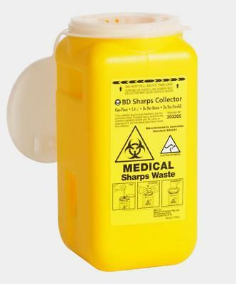 Bd Sharps Collector Waste Bin Container Sharp 1.4L  Syringe Needle Disposal