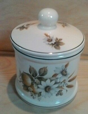Dawlish Large Lidded Pot Flowers & Wheat Design 18 cms