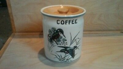 Wooden Lidded Coffee container/Pot Kingfishers  Design 13 cms