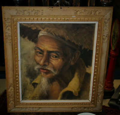 Antique Vintage Genuine painting on canvas, Indonesian Art. From Opa's estate