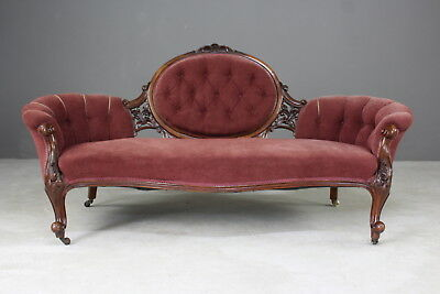 Antique Victorian Mahogany Settee Sofa Chaise