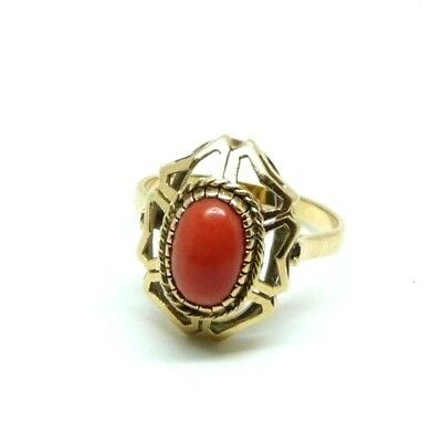Vintage Ring 'S 40 Solid Gold 18 KT with Spool Coral Made in Italy