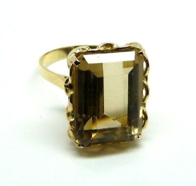 Vintage Ring Years '40 Gold Solid 18 Ct With Quartz Made In Italy