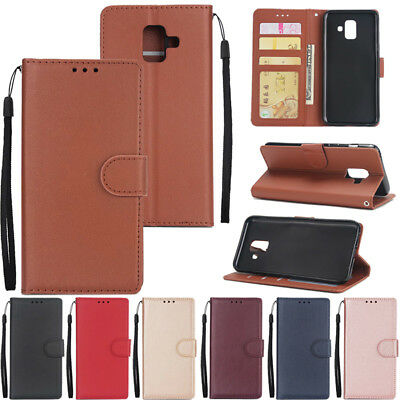 For Samsung Galaxy J3 J4 J6+ J7 J8 2018 Leather Magnetic Card Wallet Case Cover