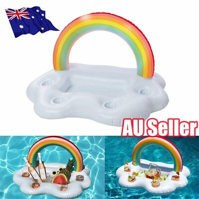 Inflatable Rainbow Cloud Cup Holder Inflatable Pool Floating Beer Drink Toy BO