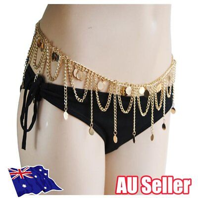 Lady Charming Belly Chain Tassel Gold Plated Waist Bikini Body Chain Jewelry BO