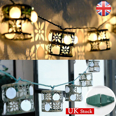 UK Iron Floral Lantern String LED Light Vintage Projector Lantern Outdoor Decor