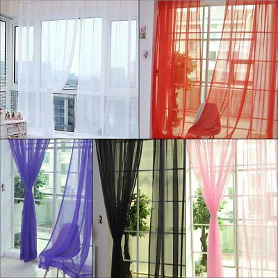 One Plain Solid Sheer Or Scarf Window Curtain Treatment Drapes Voile Many Yv