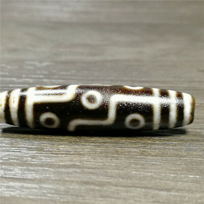 band certificate tibet dzi bead old agate 9 Eye amulet gzi antique Pendant A1247
