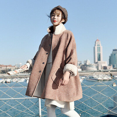 Women Lady Faux Lambswool Splice Woolen Coat Jacket Outwear Winter Warm Fashion