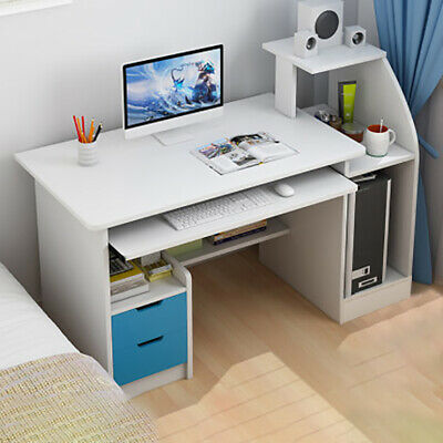 Corner Computer Desk Home Office Furniture PC Study Table Storage Shelves Drawer
