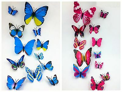 12Pcs 3D Butterfly Wall Stickers Fridge Magnet Art Design Decal Kids Home Decor