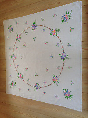 Vintage Hand Embroidered Stunning Floral Linen Tablecloth