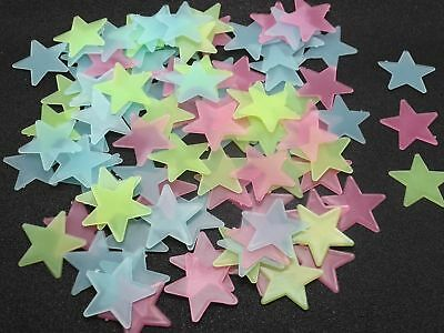 100 Plastic 3D Stars Wall Sticker Glow In The Dark Luminous Fluorescent 30mm