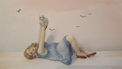 Beautiful Doll ~1920'S Style Sweet Little Girl With Kitten ~Cat ~ Pin Cushion