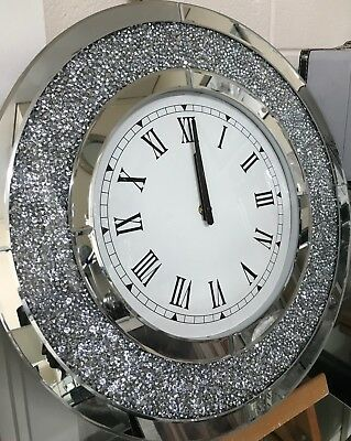 Mirrored And Crushed Crystal Round Wall Clock, Mirror Glass Floating Gem Clock