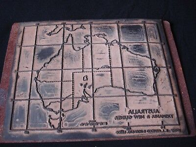 Vintage Australia Map Printing Plate By Arnold & Son, Leeds