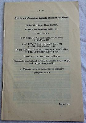 1946 Oxford & Cambridge Schools Exam ( Latin Books )